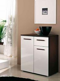 Шкаф с две врати и едно чекмедже цвят венге и бяло