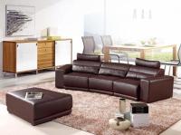 Модерен кожен диван в кафяво